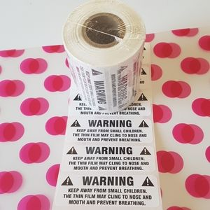 """100 pcs Suffocation Warning Stickers 3""""x1"""" inch"""